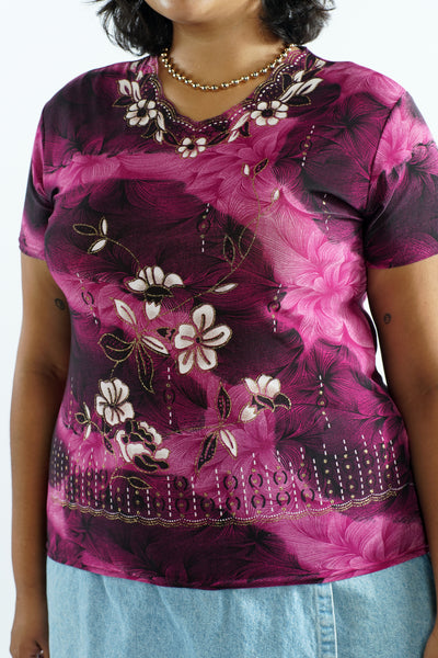 Vintage 90s Purple Digital Print Tropical Flower Blouse - M/L/XL