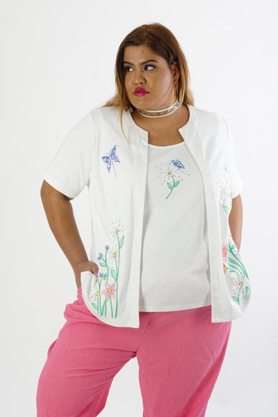 Vintage 90s White Floral Butterfly Rhinestone Blouse - XL/2X