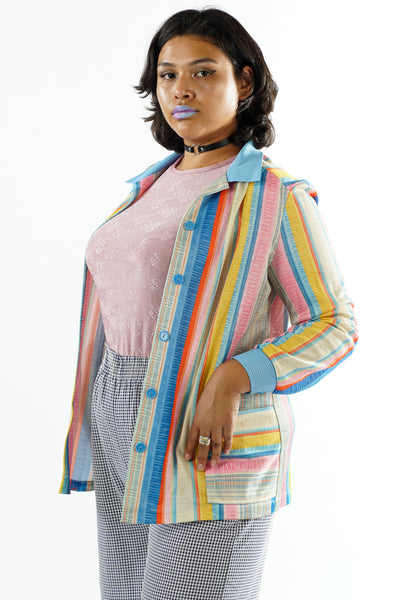 Vintage 70s Colorful Stripped Button Up Collared Blouse - One Size Fits Up To L/XL