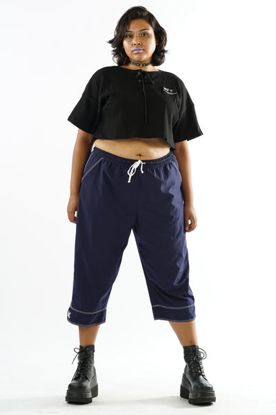 Y2K Navy Blue Sporty Draw String Capri Pants - L/XL