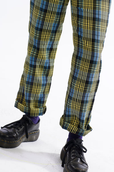 Vintage 90's Blue and Green Plaid Pants - XS