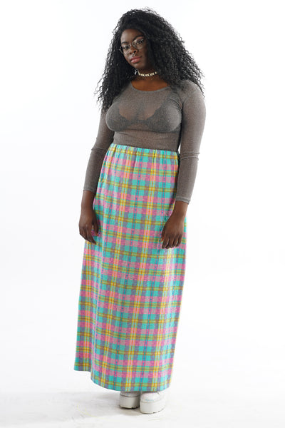 Vintage 70s Pastel Plaid Midi Skirt - L/XL