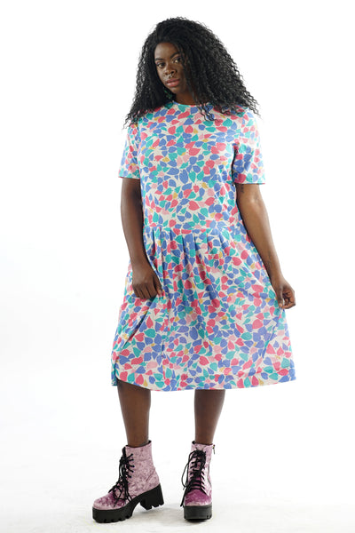Vintage 70s Multicolored Leaf Midi Dress - L/XL