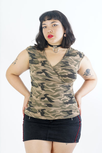 Y2K Green Camo Print Army Blouse - S/M