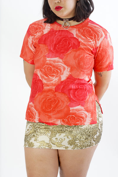 Vintage 90's Red Rose Digital Print Top - M/L