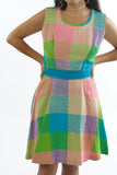 Vintage 70s Adorable Color Block Tea Time Dress - XS