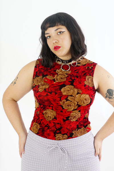 Vintage 90s Rosy Floral Tank - M