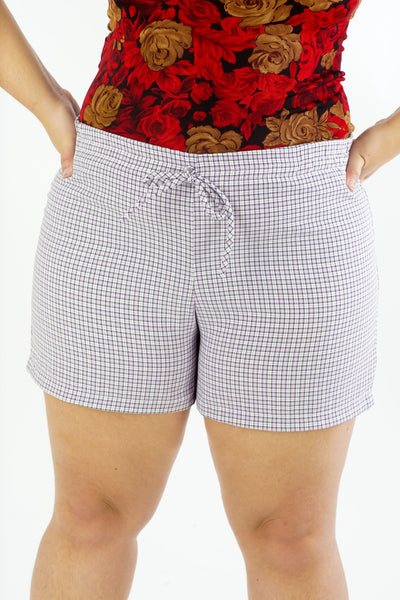 Vintage 90s Purple Gingham Shorts - M