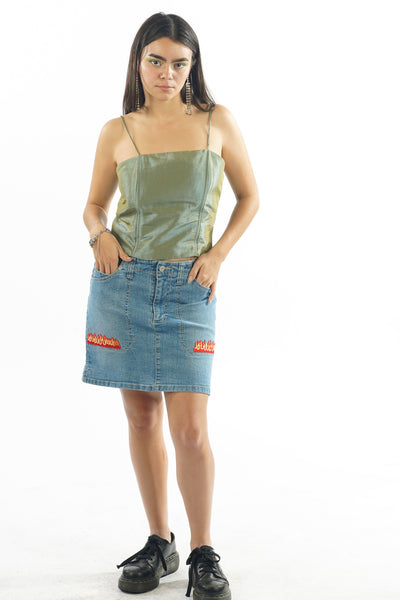 Y2K Gloria Vanderbilt Denim Flame Skirt - XS/S