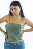 Vintage 90s Metallic Green Cami Crop Top - XS