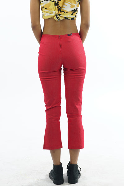 Vintage 90s Red Faux Denim Capri Pants - XXS