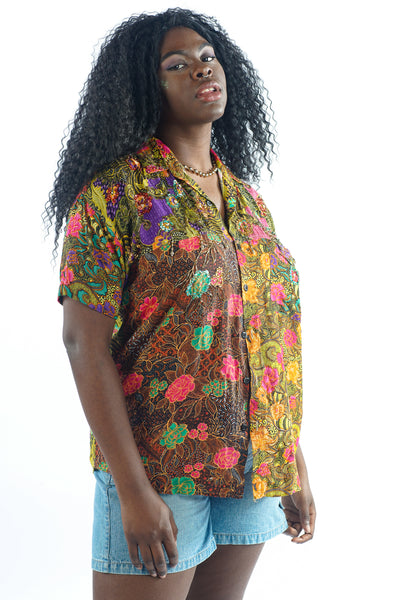 Vintage 80s Colorful Flower Print Top w/ Beaded Sequin Embellishment - M/L/XL