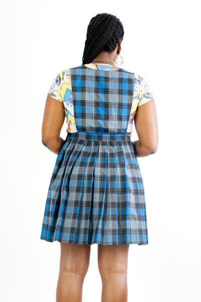 Vintage 90's School Girl Plaid Blue Grey and Black Pinafore - M