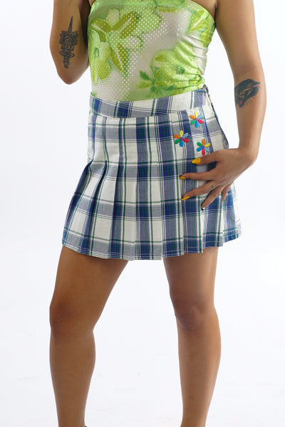 Y2K Totally Clueless Plaid Mini Skirt w/ Flower Patches - S