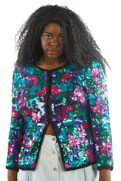 Vintage 80's Color Block Sequin Blazer - L