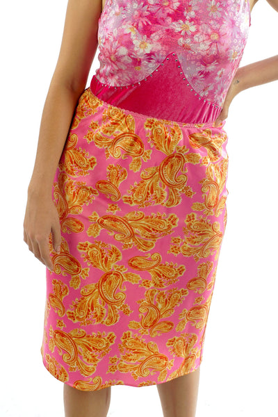 Vintage 90's Silk Pink and Yellow Paisley Skirt - XS/S