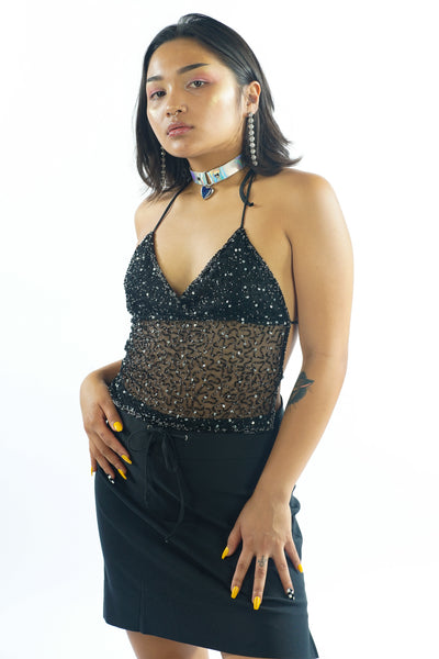 Vintage 90s Black Sequin Totally Clueless Halter Top - XXS/XS/S/M
