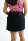 Y2K Black Wrap Flame Skirt w/ Canvas Belt Buckle - XS/S