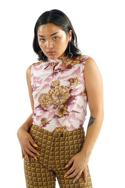 Vintage 90s Shimmery Digital Print Floral Mountain Print Top - S