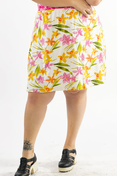 Vintage 90's Flower Power Yellow White Flower Skirt - 2X/3X