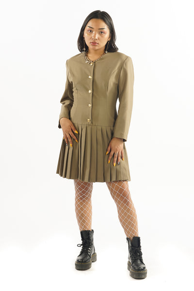 Vintage 90's Military Pleated Button Up Dress - XS/S