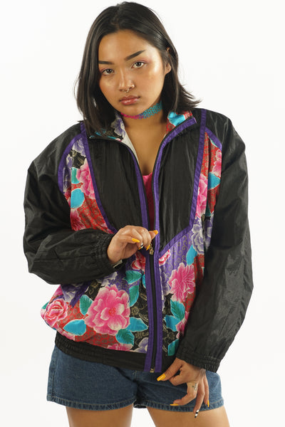 Vintage 90's Black Windbreaker w/Flowers -