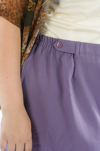 Vintage 80's Purple Calf-Length Purple Skirt - One Size Fits Up To 4X