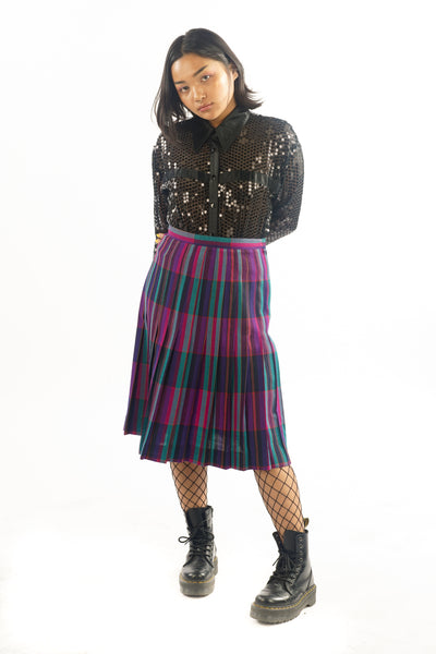Vintage 90s Pleated Plaid Midi Skirt - S/M