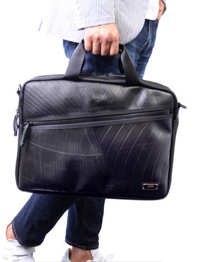 SEAL Slim Recycled Tire Tube Briefcase with Expandable Function