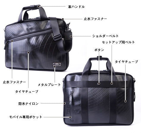 SEAL Recycled Tire Tube Slim Briefcase- Design Details