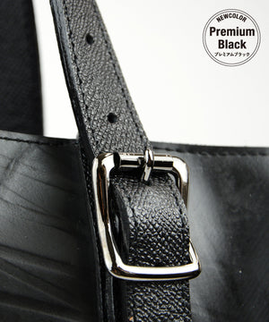 SEAL Work Tote for Men PS036 PREMIUM BLACK Genuine Leather Close Up