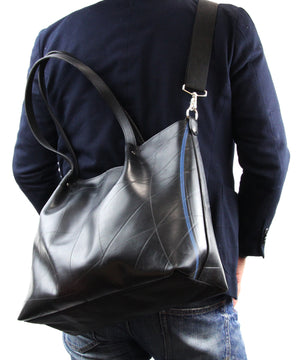 SEAL Japan Made Carry-All Tote PS059 BLACK Over the Shoulder View with Detachable Shoulder Strap