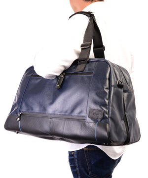 SEAL x Morino Canvas Carry On Bag NAVY Over the shoulder View