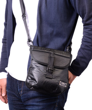 SEAL x FUJIKURA PARACHUTE 2 ways mini belt bag BLACK over shoulder view
