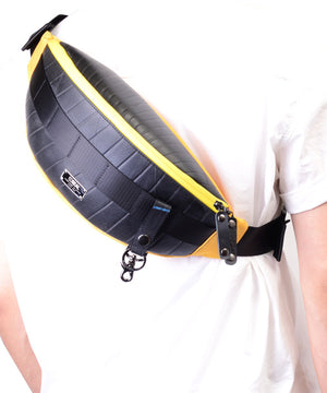 SEAL bum bag PS149 yellow model over shoulder view