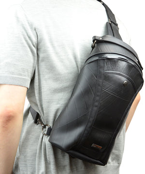 SEAL Men's Sling Backpack PS084 BLACK Over the Shoulder View