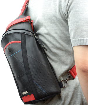 SEAL Men's Sling Backpack PS084 RED Over The Shoulder View