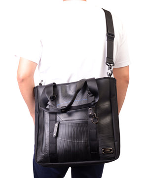SEAL Recycled Tire Tube Men's Tote Bag PS151 BLACK Long Shoulder Strap View