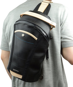 SEAL Men's Sling Backpack PS084 BEIGE Over the Shoulder View