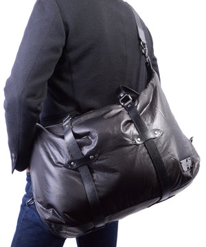 SEAL x Fujikura Parachute Luggage Bag BLACK Over The Shoulder View