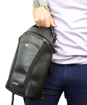 SEAL Men's Sling Backpack PS084 BLACK Hand Carrying View