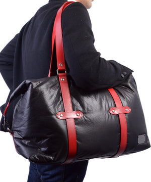 SEAL x Fujikura Parachute Luggage Bag RED Over The Shoulder View