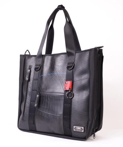 SEAL Recycled Tire Tube Men's Tote Bag PS151 NAVY Side View