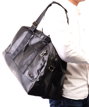 SEAL x Morino Canvas Carry On Bag BLACK Over the shoulder View