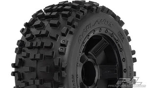 "Badlands 3.8"" (Traxxas Style Bead) All Terrain Tires Mounted, for 17mm MT Front or Rear"