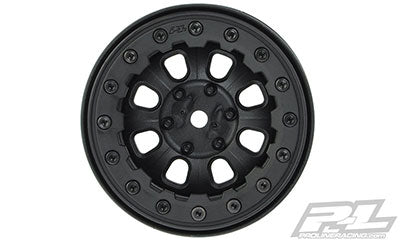 "Denali 2.2"" Black/Black Bead-Loc 8 Spoke Front or Rear Wheels for Rock Crawlers"