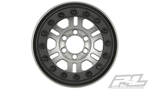 "Pro-Forge FaultLine 1.9"" Aluminum/Black Bead-Loc 6 Lug Wheels for Rock Crawlers Front or Rear"