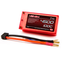 Venom 100C 2S 4500mAh 7.4v LiPo Battery Shorty Pack ROAR Approved with UNI Plug