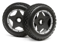 HPI RACING - DIRT BUSTER RIB TIRE & WHEEL, M COMPOUND, BAJA 5B/FRONT