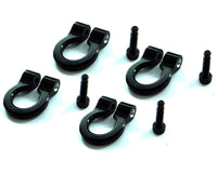 HOT RACING - 1/10 SCALE ALUMINUM BLACK TOW SHACKLE D-RINGS (4PCS)